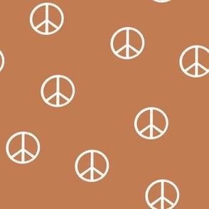 peace sign fabric - caramel sfx1346 -  boho hippie fabric, earth toned kids bedding, neutral nursery fabric