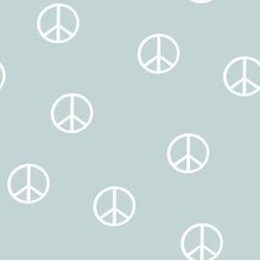 peace sign fabric - mist sfx4405 -  boho hippie fabric, earth toned kids bedding, neutral nursery fabric