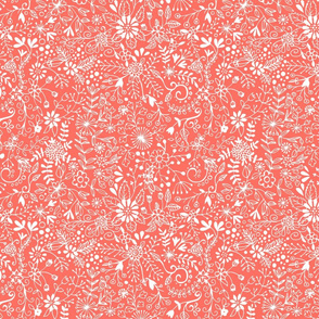 Floral Doodle White on Coral
