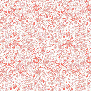 Floral Doodle Coral on White