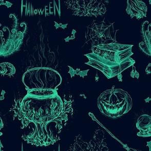 Halloween in Teal