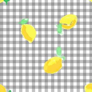 Watercolour lemons - gingham