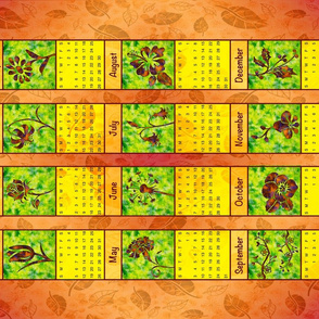 TEA TOWEL FLORAL CALENDAR 2020 sideways