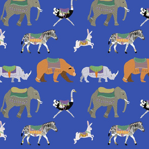 Herd of Carousel Animals on Blue Background