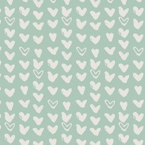 Scribbled Hearts on Light Blue-Green
