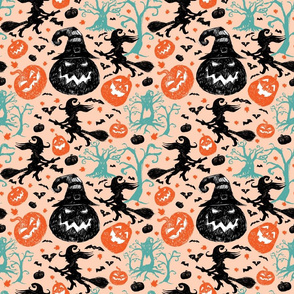 Halloween Sketch Light Orange Repeat Pattern