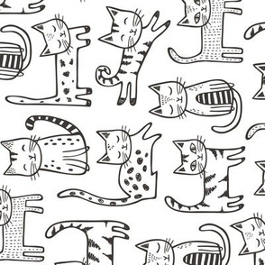 Cats with Stripes Black&White Larger Rotated