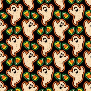 Retro Halloween Ghosts and Candy Corn