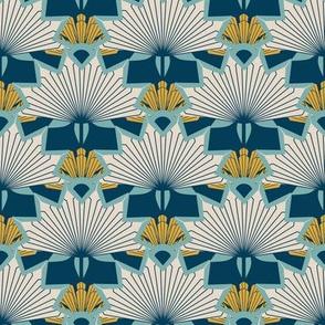 Art Deco Sunburst Scallop, Blue, Yellow