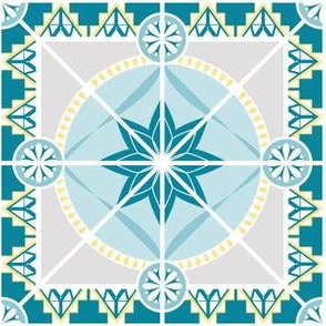"""Blue and Yellow 6"""" Tile Star Pattern"""