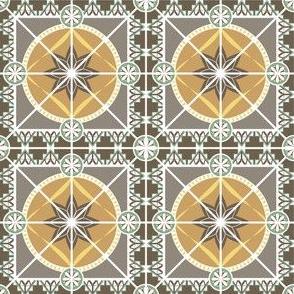 "Earth Tones 3"" Tile in Art Deco 1920s Style"