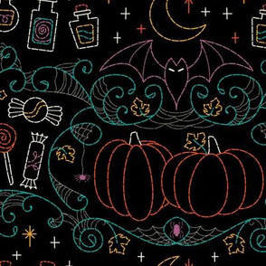 Folk Halloween Embroidery Witchy Webs- Black// halloween dress witch hat bats candy pumpkins spider web embroidered look fabric wrapping paper