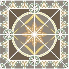 "Art Deco Style 6"" Tile in Earth Tones"