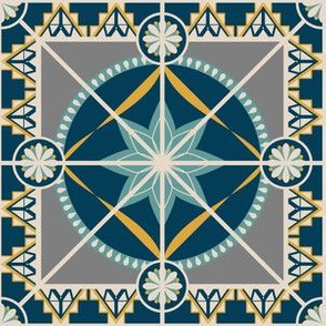 """Art Deco Style 6"""" Tile Square in Blue and Yellow"""