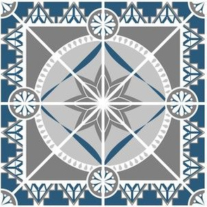 """Ornate Blue and Gray 6"""" Tile"""