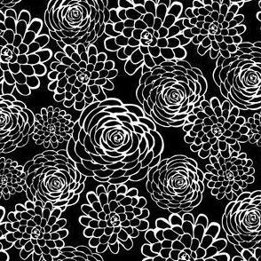 White Floral Stamp on Black