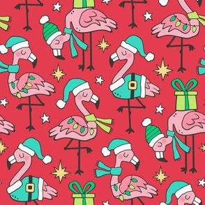 Christmas Holidays Flamingos On Red