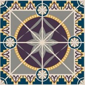 """Plum and Golden 6"""" Tile in Art Deco Style"""