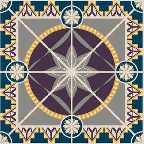 "Square 6"" Tile, Plum, Yellow, Indigo"
