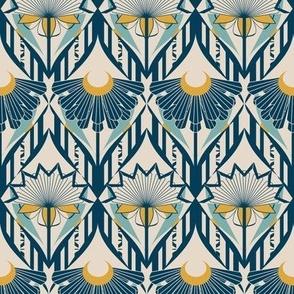 Art Deco Style Floral in Diamond Lattice