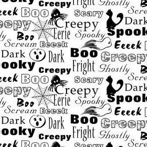 Spooky Halloween Typography, Black, White