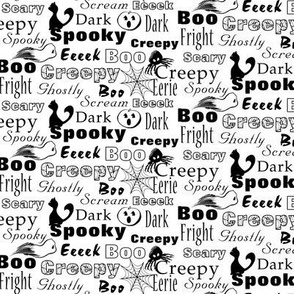 Spooky Halloween Texts Black on White