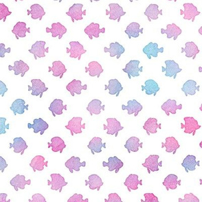 Magical Fish Pattern in Mermaid Colored Watercolor on White