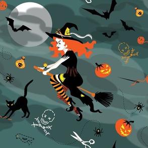 needlecraft + witchcraft: pincushion, potion & pumpkin!