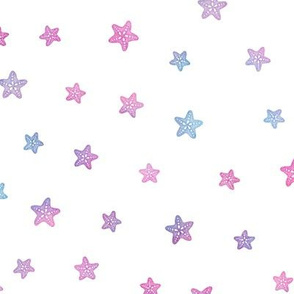 Magical Starfish Pattern in Mermaid Colored Watercolor on White