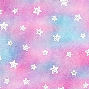 Magical Starfish Pattern in White on Mermaid Colored Watercolor