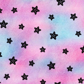 Magical Starfish Pattern in Black on Mermaid Colored Watercolor