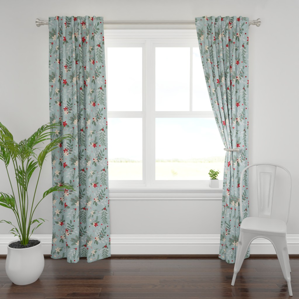 Plymouth Curtain Panel featuring holiday_winter_floral_light_blue by amanda_grace_design