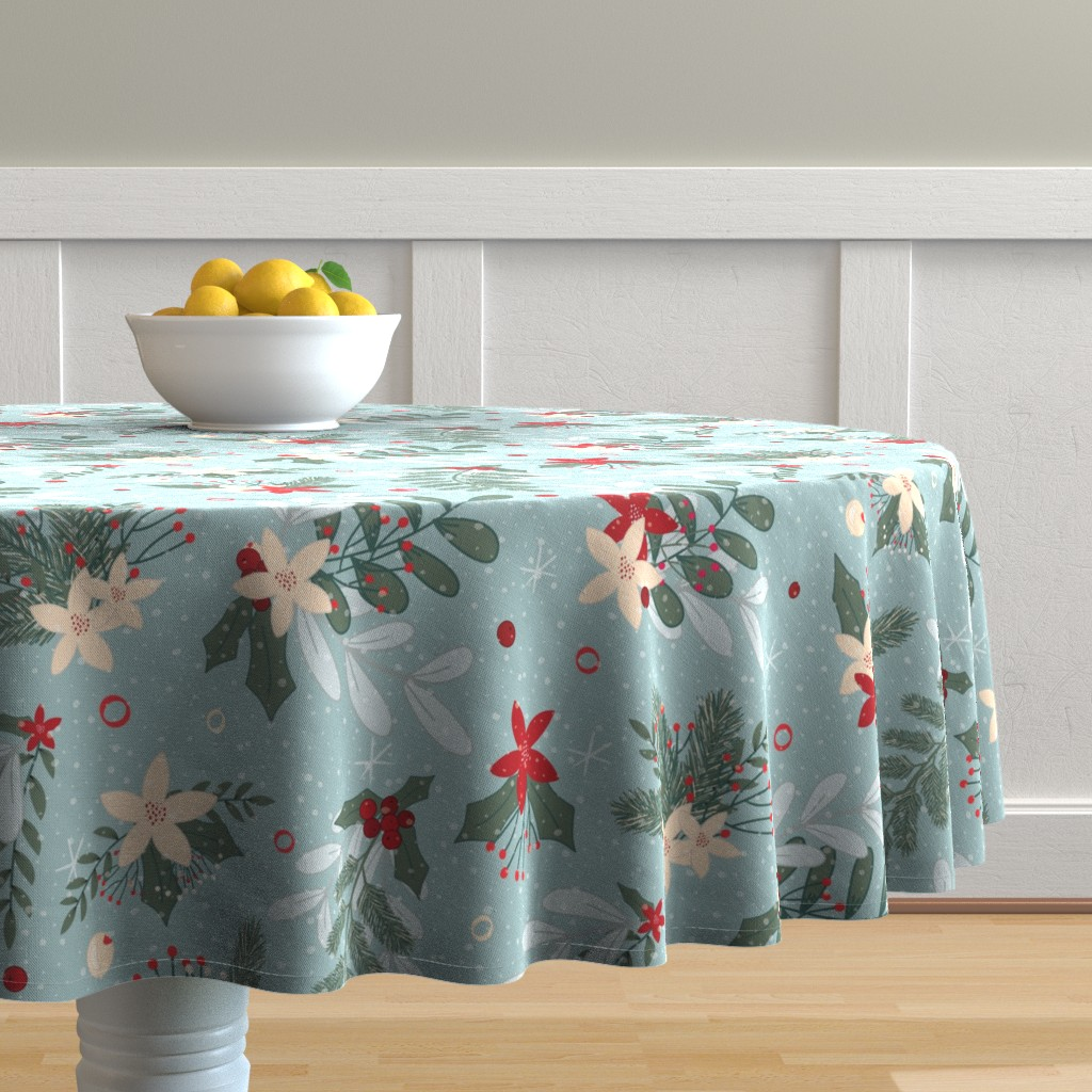 Malay Round Tablecloth featuring holiday_winter_floral_light_blue by amanda_grace_design