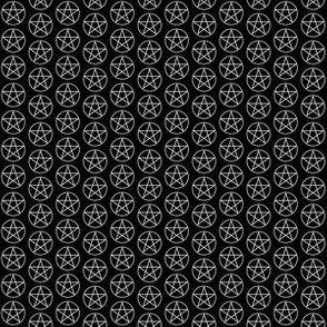 Half Inch White Pentacles on Black