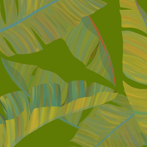 Large Scale Banana Leaves green background