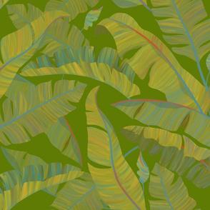 Banana Leaves green background
