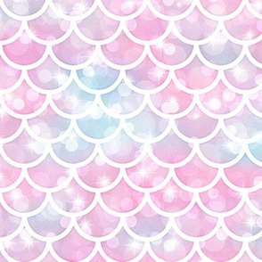 Magical Mermaid Scales Pattern on Bokehs and Sparkles