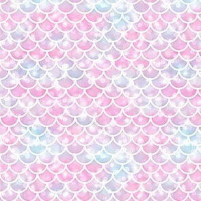 Small Magical Mermaid Scales Pattern on Bokehs and Sparkles