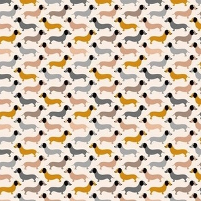 Vintage doxie sausage dogs dachshund illustration pattern gender neutral ochre yellow XS
