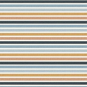"""1/4"""" Horizontal stripes in blue and mustard even linen look"""
