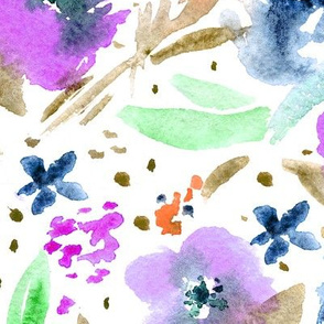 Bloom in Paris • purple and blue • watercolor florals