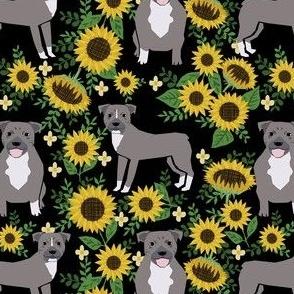 pitbull sunflowers fabric - gray pitbull fabric, dog fabric, sunflowers fabric - black