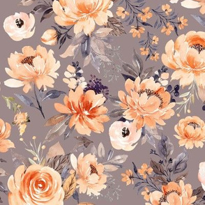 Medium // Pretty Peach Flowers // Dusty Gray