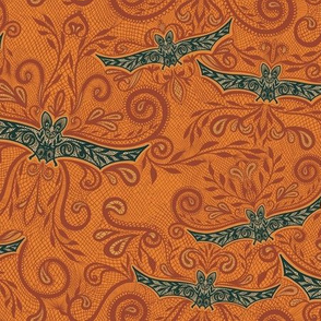 Bat Lace Embroidery - Orange