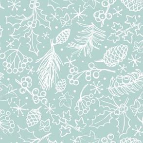 Ditsy winter foliage - blue