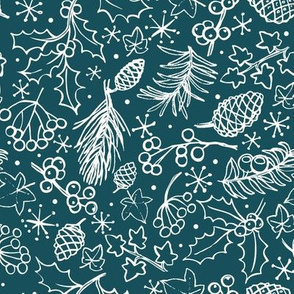 Ditsy winter foliage - teal