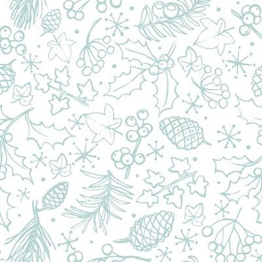 Ditsy winter foliage - White