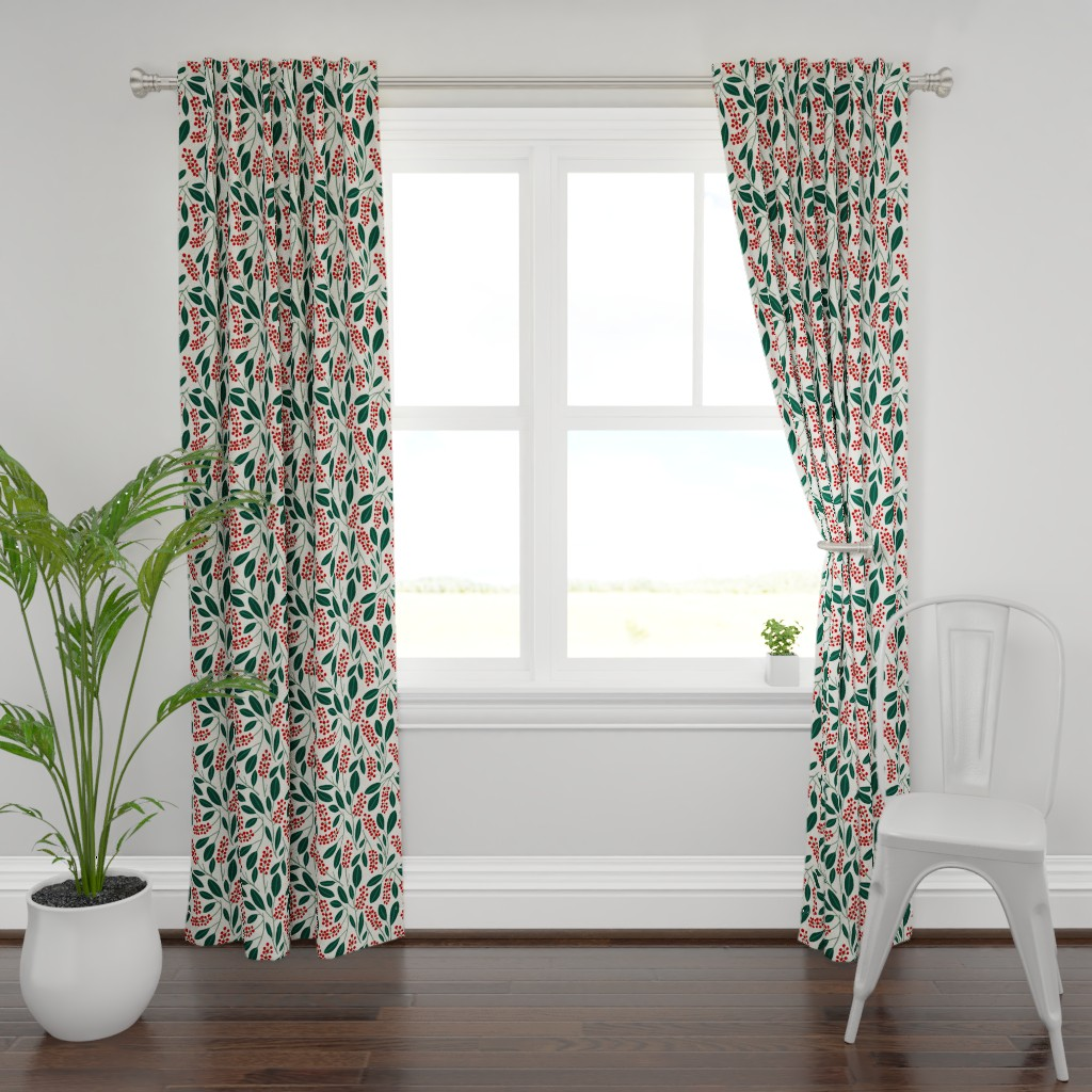 Plymouth Curtain Panel featuring POKEBERRY red green white by nadinewestcott