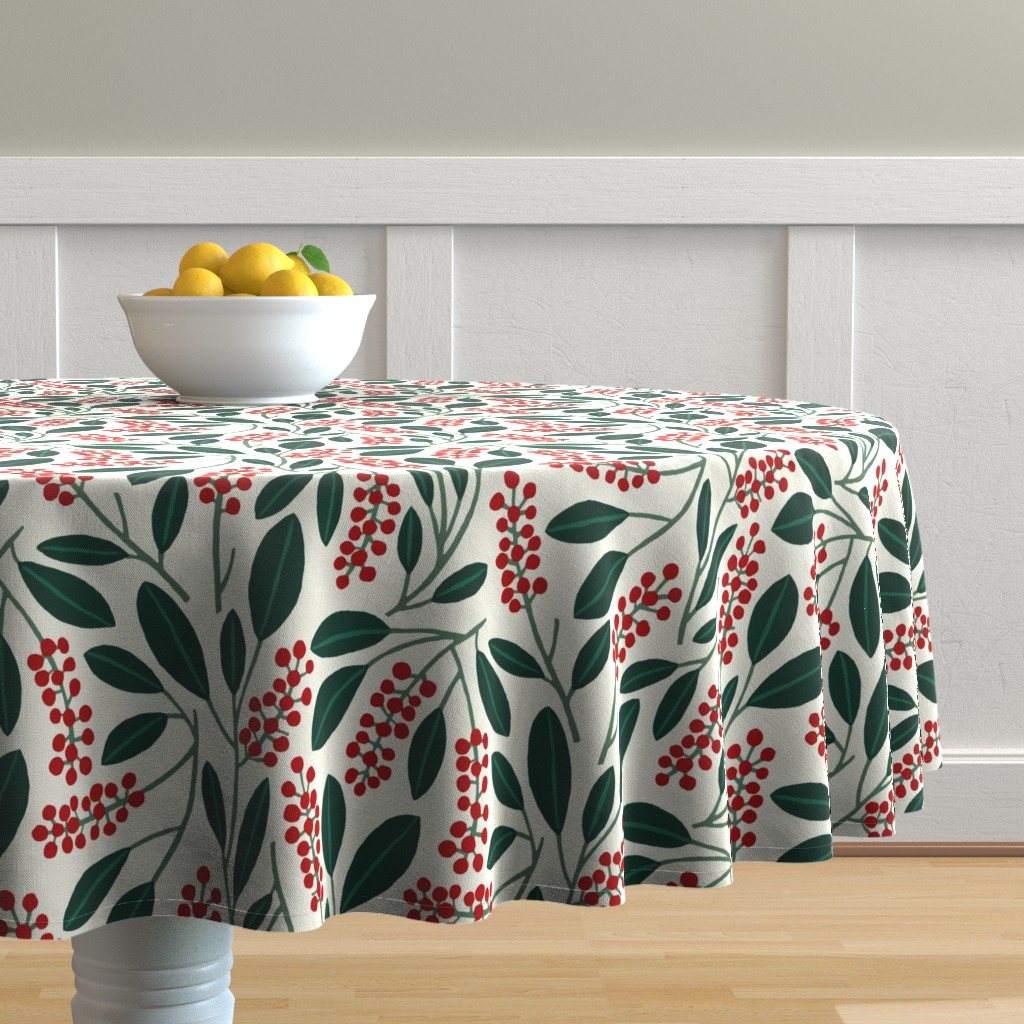 """Malay Round Tablecloth featuring POKEBERRY 12"""" red green white by nadinewestcott"""