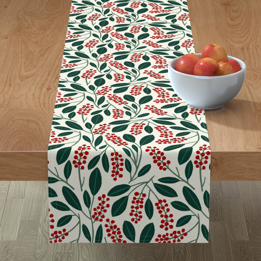 "Minorca Table Runner featuring POKEBERRY 12"" red green white by nadinewestcott"